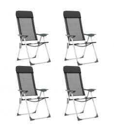 Καρέκλες Camping Πτυσσόμενες 4 τεμ. Μαύρες από Αλουμίνιο  44308