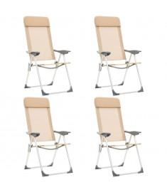 Καρέκλες Camping Πτυσσόμενες 4 τεμ. Κρεμ από Αλουμίνιο  44309