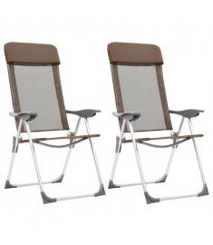 Καρέκλες Camping Πτυσσόμενες 2 τεμ. Καφέ από Αλουμίνιο   44310