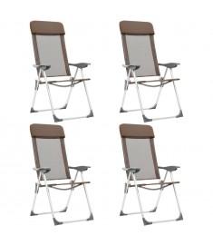 Καρέκλες Camping Πτυσσόμενες 4 τεμ. Καφέ από Αλουμίνιο  44311
