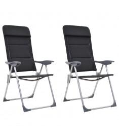 Καρέκλες Camping 2 τεμ. Μαύρες 58 x 69 x 111 εκ. από Αλουμίνιο   44313
