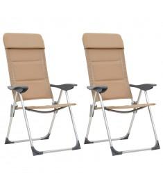 Καρέκλες Camping 2 τεμ. Κρεμ 58 x 69 x 111 εκ. από Αλουμίνιο   44314