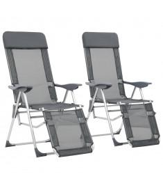 Καρέκλες Camping Πτυσσόμενες 2 τεμ. Γκρι Αλουμίνιο με Υποπόδιο  44315