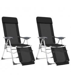 Καρέκλες Camping Πτυσσόμενες 2 τεμ Μαύρες Αλουμίνιο με Υποπόδιο  44316