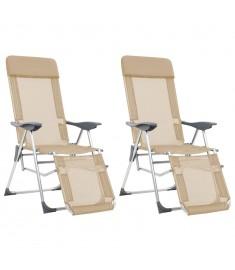 Καρέκλες Camping Πτυσσόμενες 2 τεμ. Κρεμ Αλουμίνιο με Υποπόδιο  44317