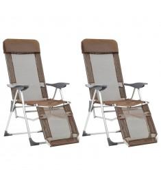 Καρέκλες Camping Πτυσσόμενες 2 τεμ. Taupe Αλουμίνιο με Υποπόδιο  44318