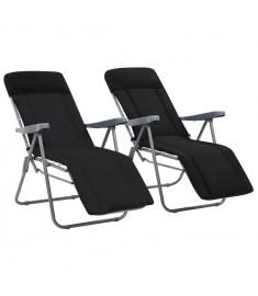 Καρέκλες Κήπου Πτυσσόμενες 2 τεμ. Μαύρες με Μαξιλάρια  44319