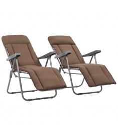 Καρέκλες Κήπου Πτυσσόμενες 2 τεμ. Καφέ με Μαξιλάρια  44321