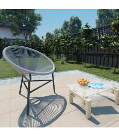 Πολυθρόνα Κήπου Οβάλ Γκρι από Συνθετικό Ρατάν  44481