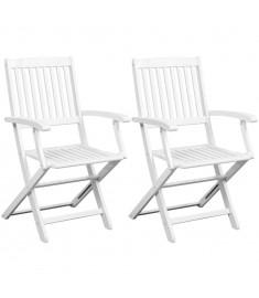 Καρέκλες Τραπεζαρίας 2 τεμ. Λευκές από Μασίφ Ξύλο Ακακίας  44048