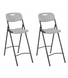 Καρέκλες Μπαρ Πτυσσόμενες 2 τεμ. Λευκές από HDPE / Ατσάλι  44561