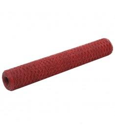Συρματόπλεγμα Εξάγωνο Κόκκινο 25 x 1 μ. Ατσάλι με Επικάλυψη PVC