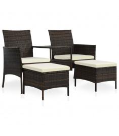 Κάθισμα Διθέσιο Κήπου με Τραπεζάκι/Υποπόδια Καφέ Συνθ. Ρατάν  44451