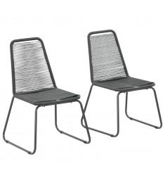 Καρέκλες Κήπου Στοιβαζόμενες 2 τεμ. Μαύρες από Συνθετικό Ρατάν  44442