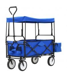 Τρόλεϊ Καρότσι Χειρός Πτυσσόμενο Μπλε Ατσάλινο με Σκίαστρο  143781