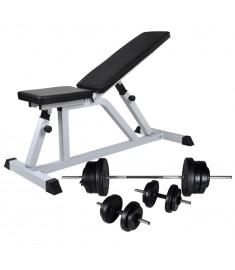 Πάγκος Γυμναστικής με Σετ Μπάρα και Αλτήρες 60,5 κ.  275346