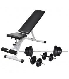 Πάγκος Γυμναστικής με Σετ Μπάρα και Αλτήρες 60,5 κ.  275347