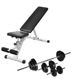 Πάγκος Γυμναστικής με Σετ Μπάρα και Αλτήρες 30,5 κ.  275351