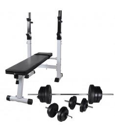 Πάγκος Γυμναστικής με Ορθοστάτες, Σετ Μπάρα και Αλτήρες 60,5 κ.  275361
