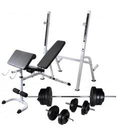 Πάγκος Γυμναστικής με Ορθοστάτες, Σετ Μπάρα και Αλτήρες 60,5 κ.  275362