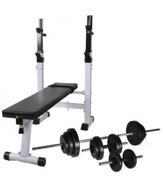 Πάγκος Γυμναστικής με Ορθοστάτες, Σετ Μπάρα και Αλτήρες 30,5 κ.  275366