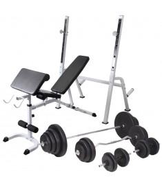 Πάγκος Γυμναστικής με Ορθοστάτες, Σετ Μπάρα και Αλτήρες 120 κ.  275376