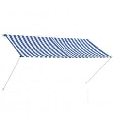 Τέντα Συρόμενη Μπλε / Λευκό 250 x 150 εκ.  143748