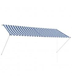 Τέντα Συρόμενη Μπλε / Λευκό 300 x 150 εκ.  143749