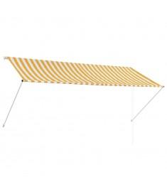 Τέντα Συρόμενη Κίτρινο / Λευκό 300 x 150 εκ.  143755