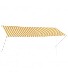 Τέντα Συρόμενη Κίτρινο / Λευκό 350 x 150 εκ.  143756