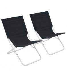 Καρέκλες Παραλίας Πτυσσόμενες 2 τεμ. Μαύρες   44369