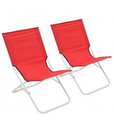 Καρέκλες Παραλίας Πτυσσόμενες 2 τεμ. Κόκκινες   44370