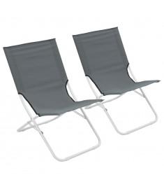 Καρέκλες Παραλίας Πτυσσόμενες 2 τεμ. Γκρι   44371
