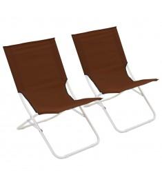 Καρέκλες Παραλίας Πτυσσόμενες 2 τεμ. Καφέ   44372