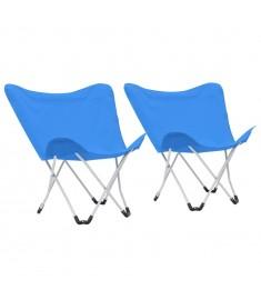 Καρέκλες Camping Τύπου Πεταλούδα  2 τεμ. Πτυσσόμενες Μπλε  44373