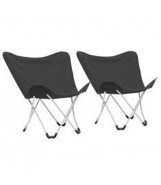Καρέκλες Camping Τύπου Πεταλούδα 2 τεμ. Πτυσσόμενες Μαύρες  44374