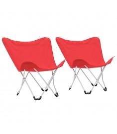 Καρέκλες Camping Τύπου Πεταλούδα 2 τεμ. Πτυσσόμενες Κόκκινες  44375