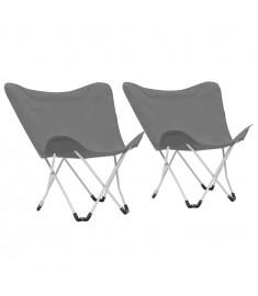 Καρέκλες Camping Τύπου Πεταλούδα 2 τεμ. Πτυσσόμενες Γκρι  44376
