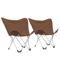 Καρέκλες Camping Τύπου Πεταλούδα 2 τεμ. Πτυσσόμενες Καφέ  44377
