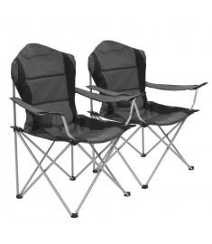 Καρέκλες Camping Πτυσσόμενες 2 τεμ. Γκρι 96 x 60 x 102 εκ.   44378