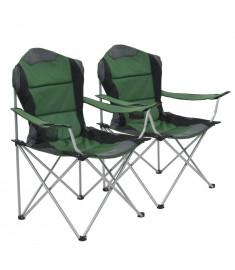 Καρέκλες Camping Πτυσσόμενες 2 τεμ. Πράσινες 96 x 60 x 102 εκ.   44379