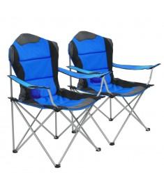 Καρέκλες Camping Πτυσσόμενες 2 τεμ. Μπλε 96 x 60 x 102 εκ.   44380