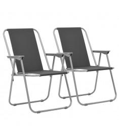 Καρέκλες Camping Πτυσσόμενες 2 τεμ. Γκρι 52 x 59 x 80 εκ.   44381