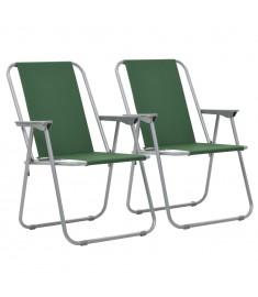 Καρέκλες Camping Πτυσσόμενες 2 τεμ. Πράσινες 52 x 59 x 80 εκ.   44382