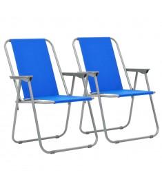 Καρέκλες Camping Πτυσσόμενες 2 τεμ. Μπλε 52 x 59 x 80 εκ.   44383