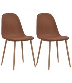 Καρέκλες Τραπεζαρίας 2 τεμ. Καφέ 46 x 55 x 85 εκ. από Δερματίνη  246171