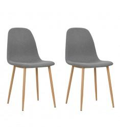 Καρέκλες Τραπεζαρίας 2 τεμ Ανοιχτό Γκρι 45x55x85 εκ Ύφασματινες  246197