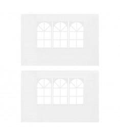 Τοιχώματα Τέντας Εκδηλώσεων 2 τεμ. Λευκά από PE με Παράθυρο   45113