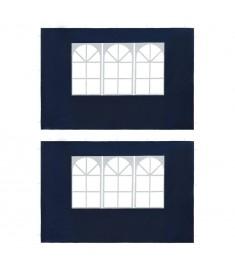 Τοιχώματα Τέντας Εκδηλώσεων 2 τεμ. Μπλε από PE με Παράθυρο