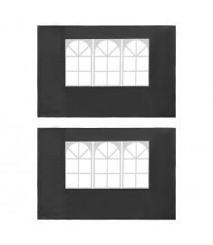 Τοιχώματα Τέντας Εκδηλώσεων 2 τεμ. Ανθρακί από PE με Παράθυρο   45117